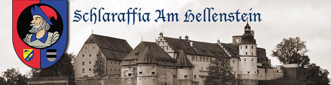 Bild vom Schloss Hellenstein mit dem Logo der Schlaraffia am Hellenstein e.V. Heidenheim an der Brenz